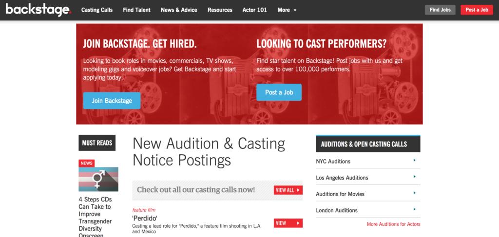 Backstage Homepage