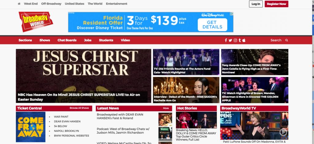 Broadway World Homepage