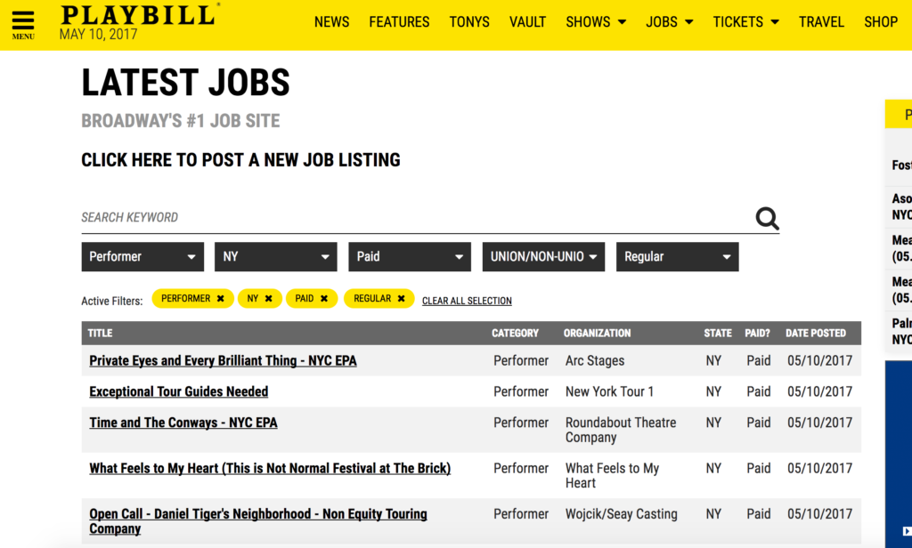 Playbill Job Page