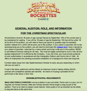 Radio City Rockettes Audition