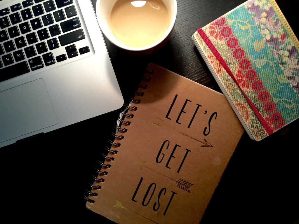 coffee notebook laptop